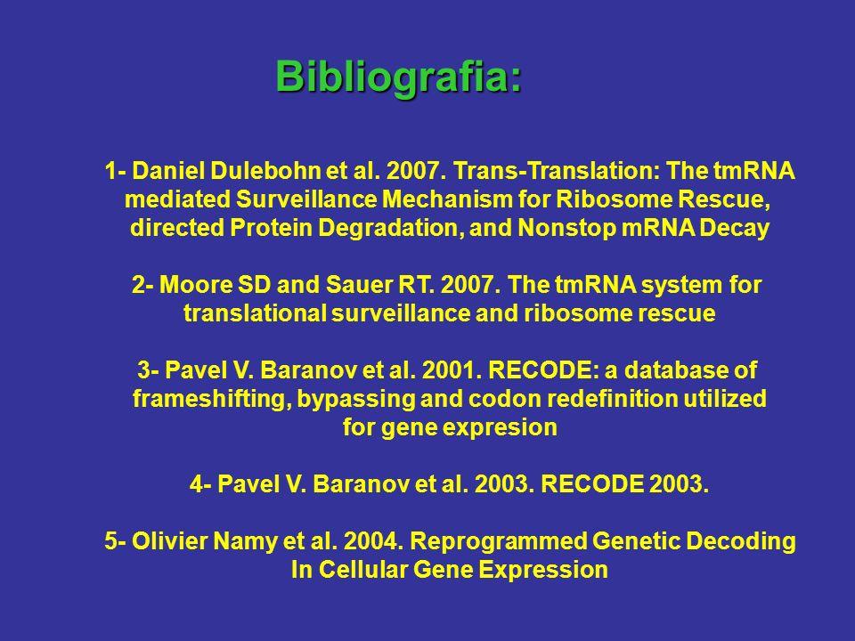Bibliografia: 1- Daniel Dulebohn et al. 2007. Trans-Translation: The tmRNA. mediated Surveillance Mechanism for Ribosome Rescue,