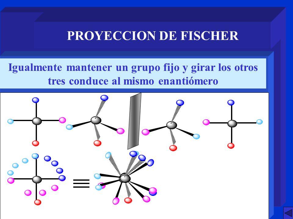 PROYECCION DE FISCHER Igualmente mantener un grupo fijo y girar los otros tres conduce al mismo enantiómero.