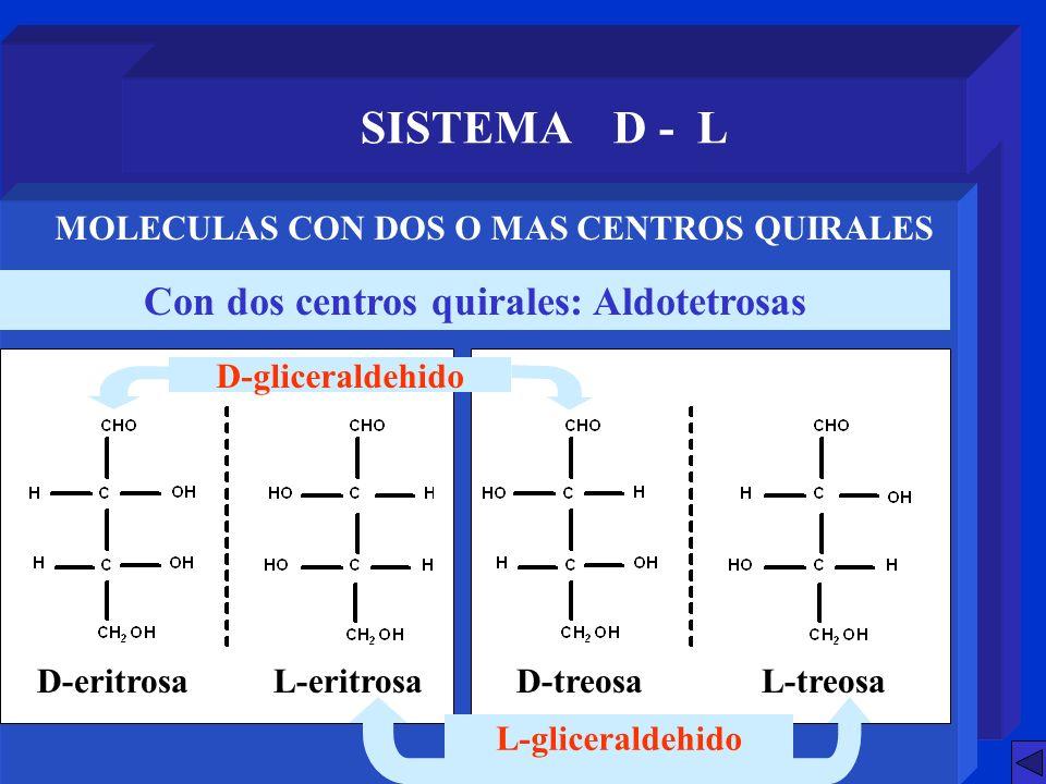 SISTEMA D - L Con dos centros quirales: Aldotetrosas