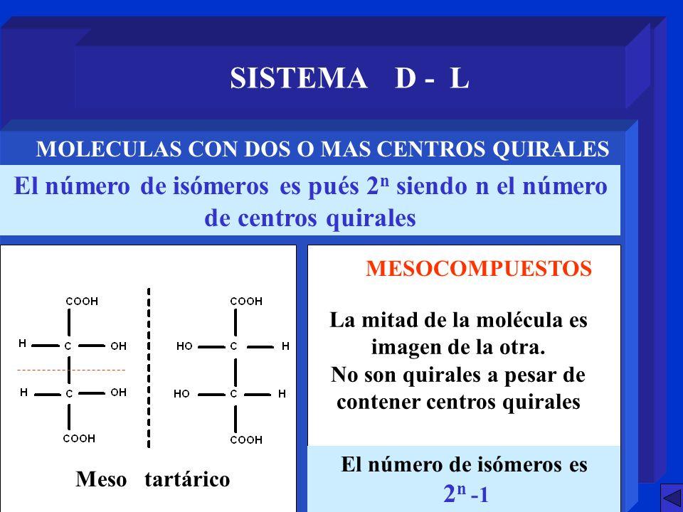 SISTEMA D - L MOLECULAS CON DOS O MAS CENTROS QUIRALES. El número de isómeros es pués 2n siendo n el número de centros quirales.
