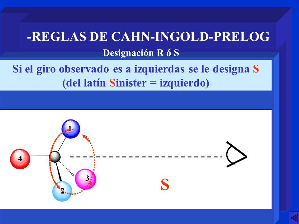 S -REGLAS DE CAHN-INGOLD-PRELOG