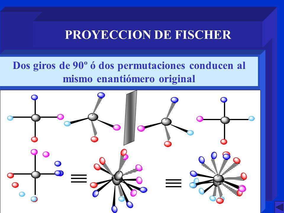 PROYECCION DE FISCHER Dos giros de 90º ó dos permutaciones conducen al mismo enantiómero original