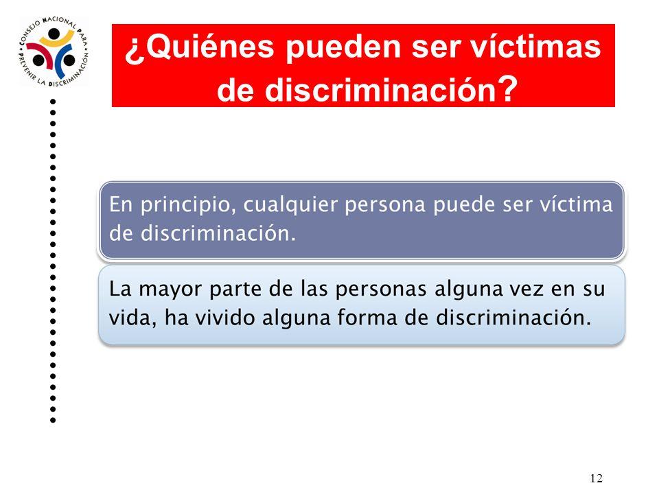 ¿Quiénes pueden ser víctimas de discriminación