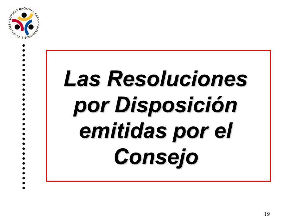 Las Resoluciones por Disposición emitidas por el Consejo