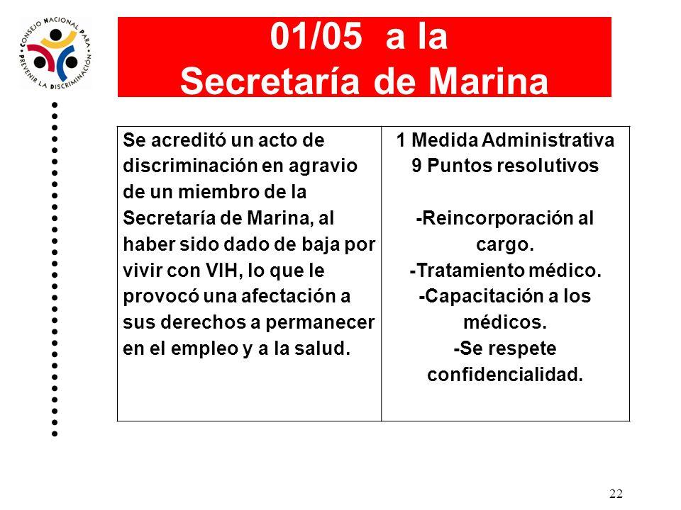 01/05 a la Secretaría de Marina