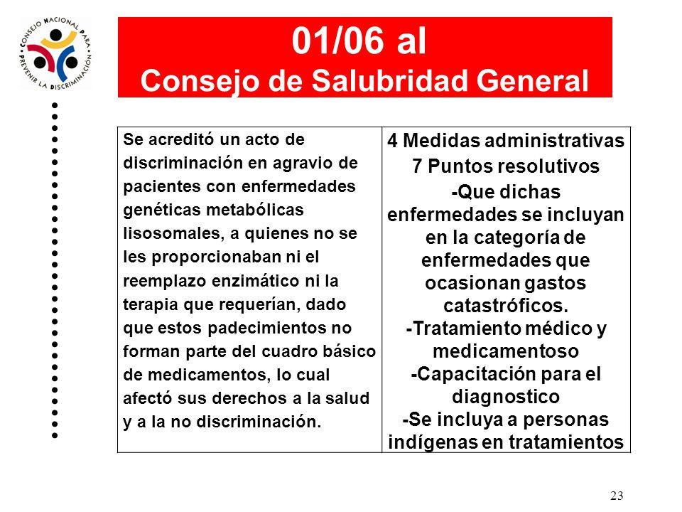 01/06 al Consejo de Salubridad General 4 Medidas administrativas