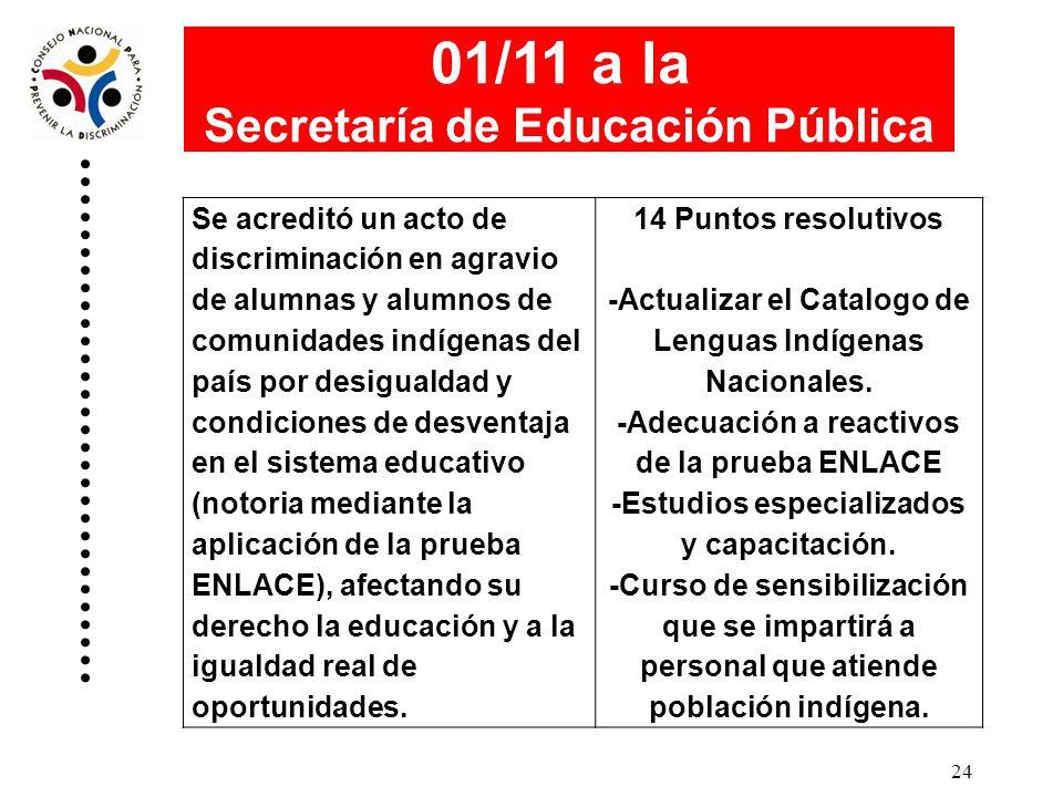 01/11 a la Secretaría de Educación Pública