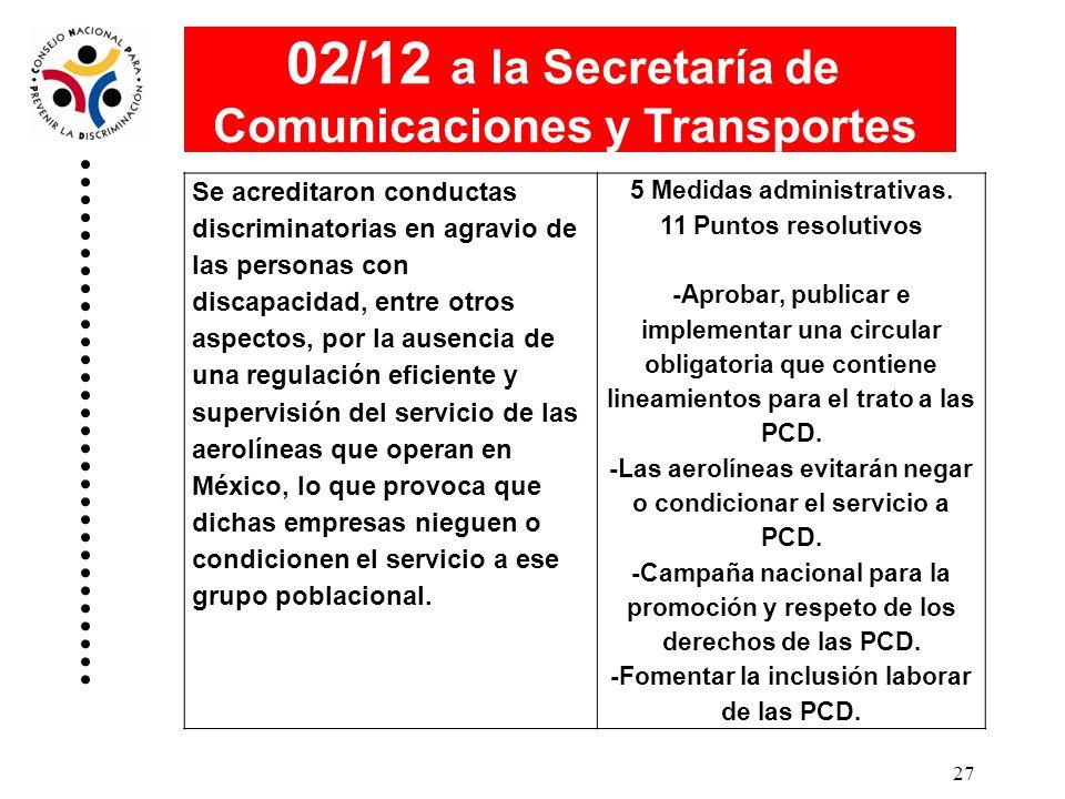 02/12 a la Secretaría de Comunicaciones y Transportes