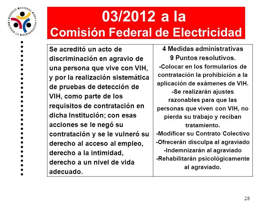 03/2012 a la Comisión Federal de Electricidad