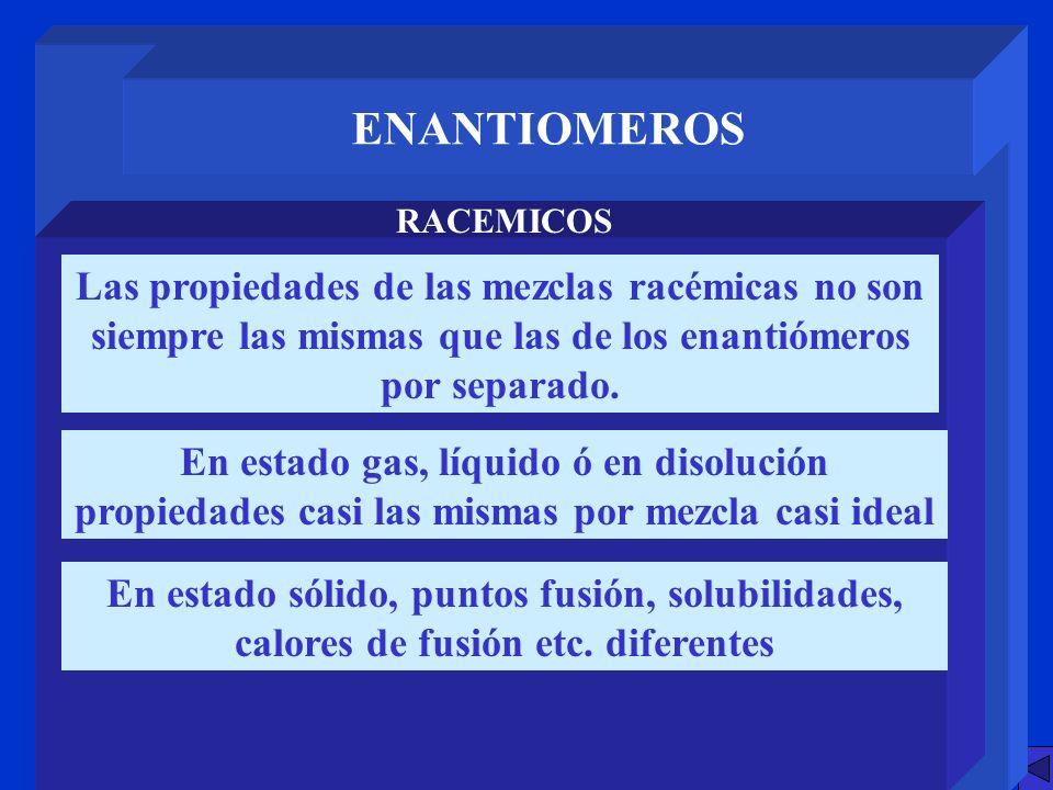 ENANTIOMEROS RACEMICOS. Las propiedades de las mezclas racémicas no son siempre las mismas que las de los enantiómeros por separado.