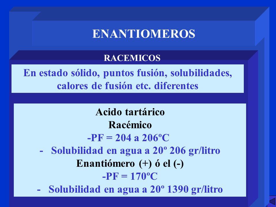 ENANTIOMEROS RACEMICOS. En estado sólido, puntos fusión, solubilidades, calores de fusión etc. diferentes.