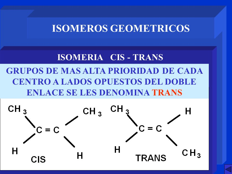 ISOMEROS GEOMETRICOS ISOMERIA CIS - TRANS
