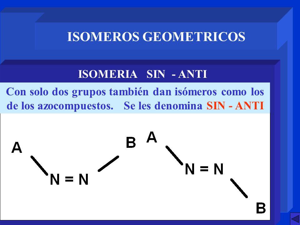 ISOMEROS GEOMETRICOS ISOMERIA SIN - ANTI