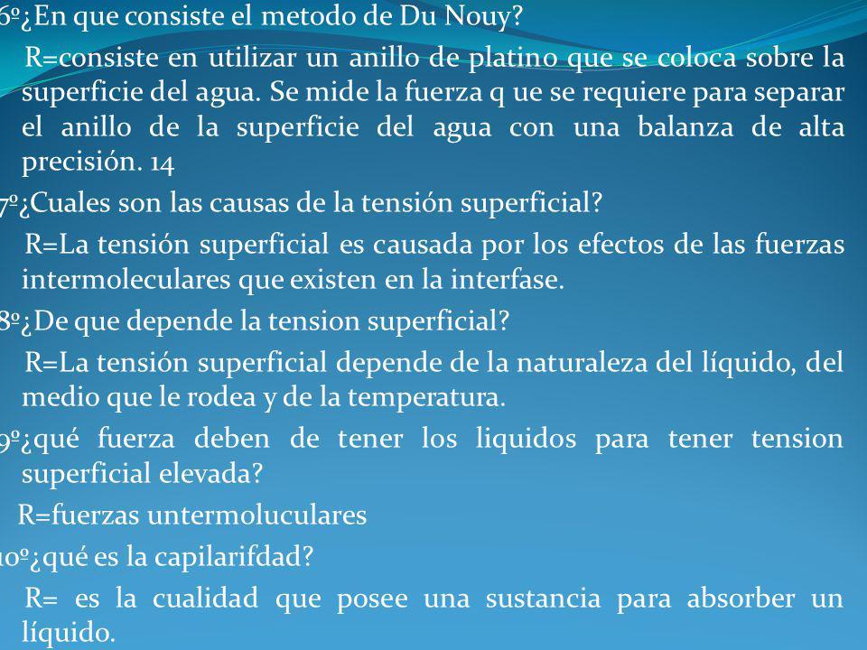 6º¿En que consiste el metodo de Du Nouy