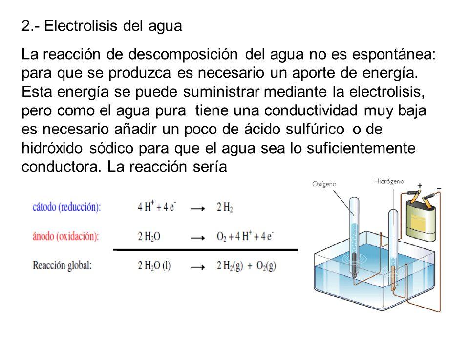 2.- Electrolisis del agua
