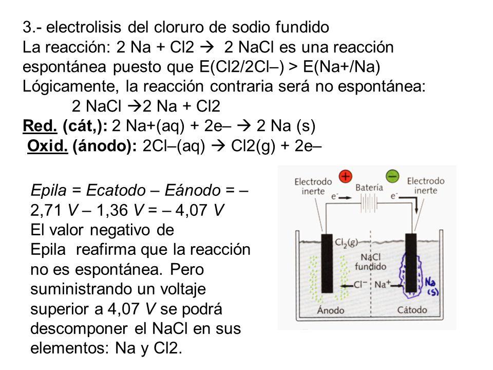 3.- electrolisis del cloruro de sodio fundido