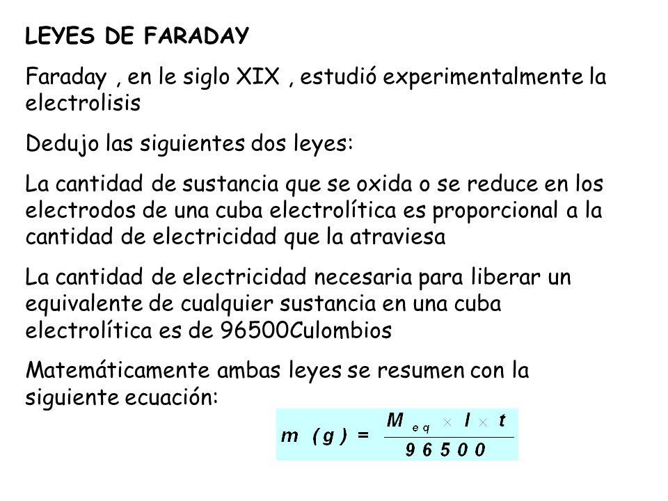 LEYES DE FARADAY Faraday , en le siglo XIX , estudió experimentalmente la electrolisis. Dedujo las siguientes dos leyes: