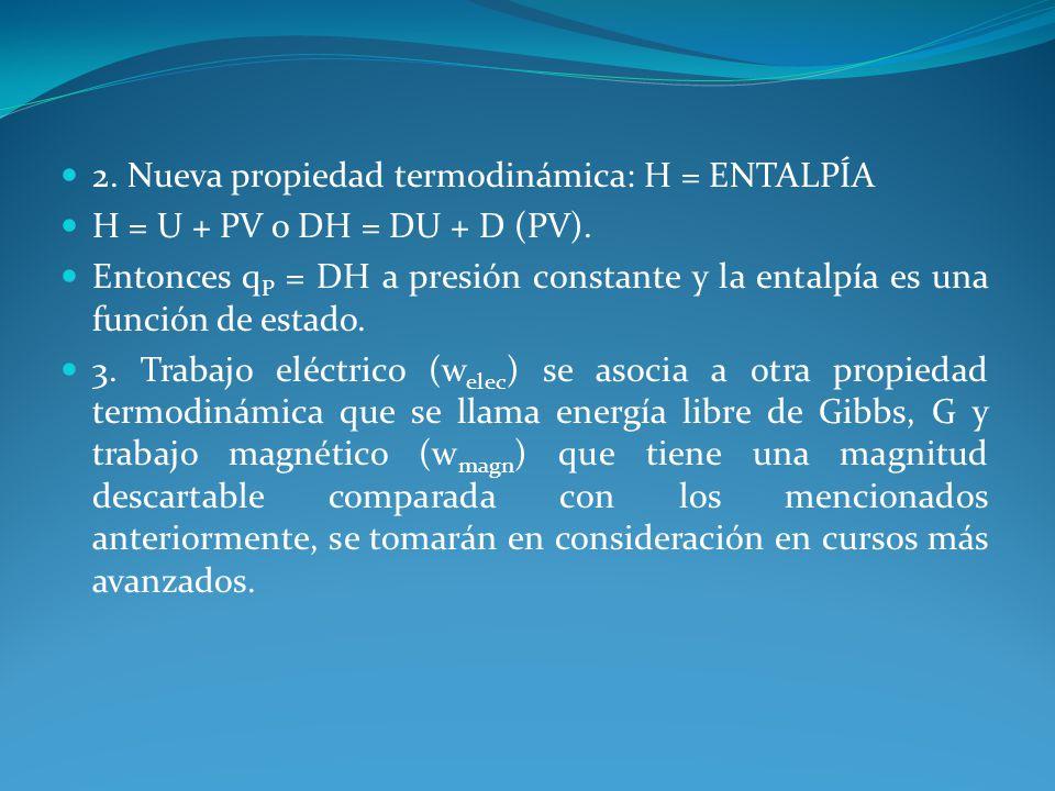 2. Nueva propiedad termodinámica: H = ENTALPÍA