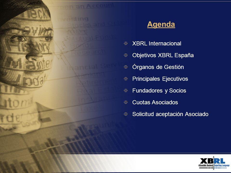 Agenda XBRL Internacional Objetivos XBRL España Órganos de Gestión
