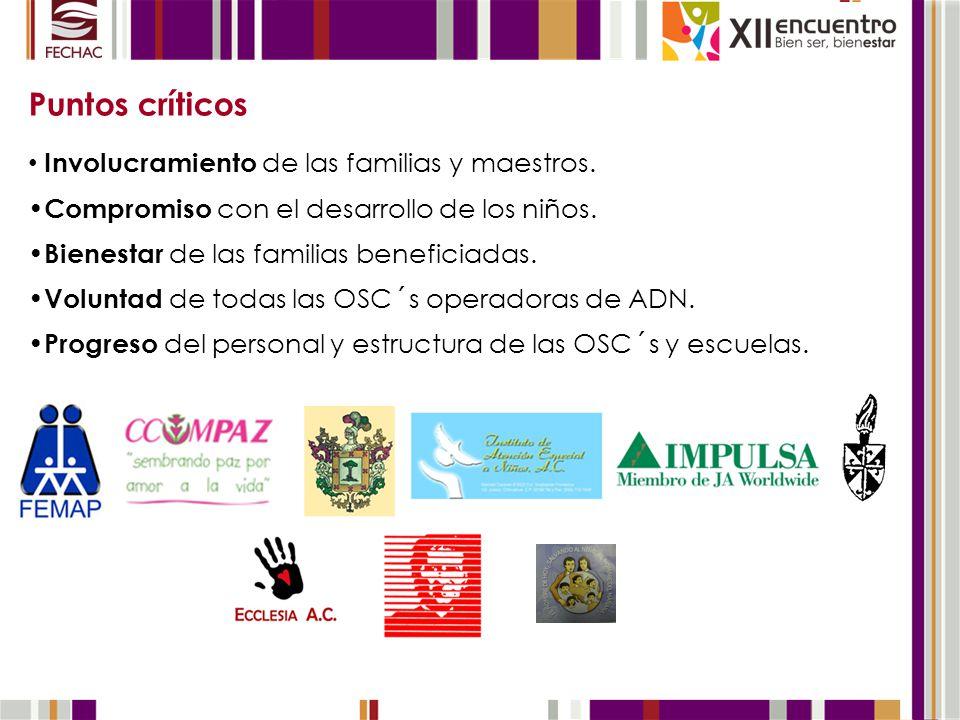 Puntos críticos Involucramiento de las familias y maestros.