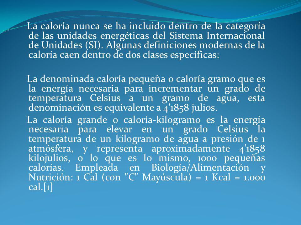 La caloría nunca se ha incluido dentro de la categoría de las unidades energéticas del Sistema Internacional de Unidades (SI).