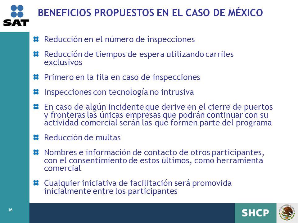 BENEFICIOS PROPUESTOS EN EL CASO DE MÉXICO