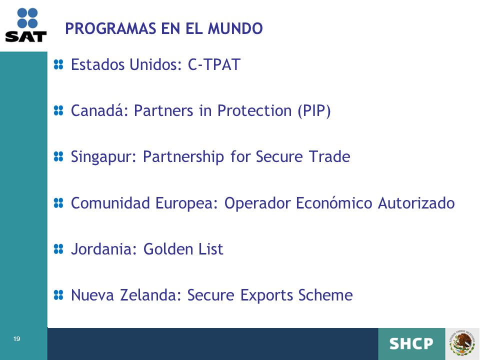 PROGRAMAS EN EL MUNDO Estados Unidos: C-TPAT. Canadá: Partners in Protection (PIP) Singapur: Partnership for Secure Trade.