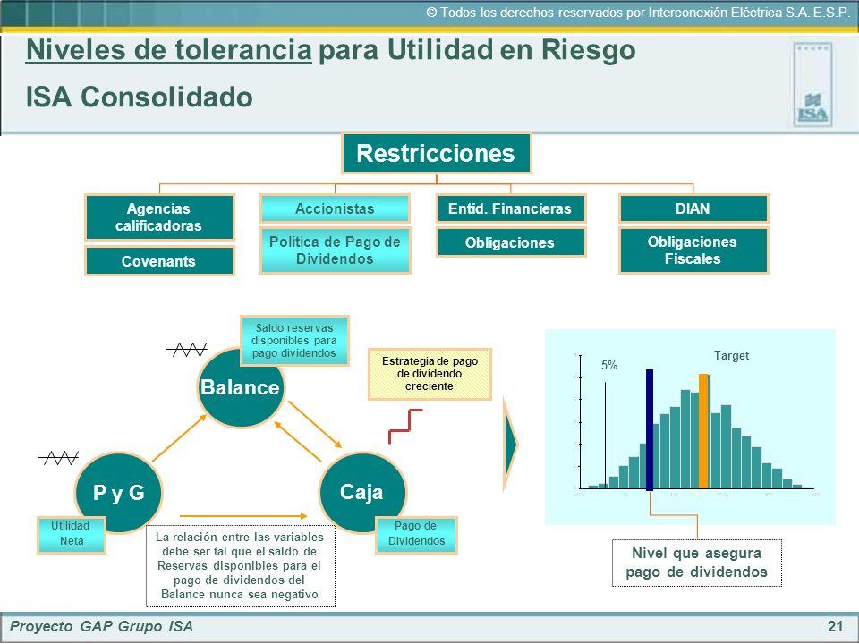 Niveles de tolerancia para Utilidad en Riesgo ISA Consolidado