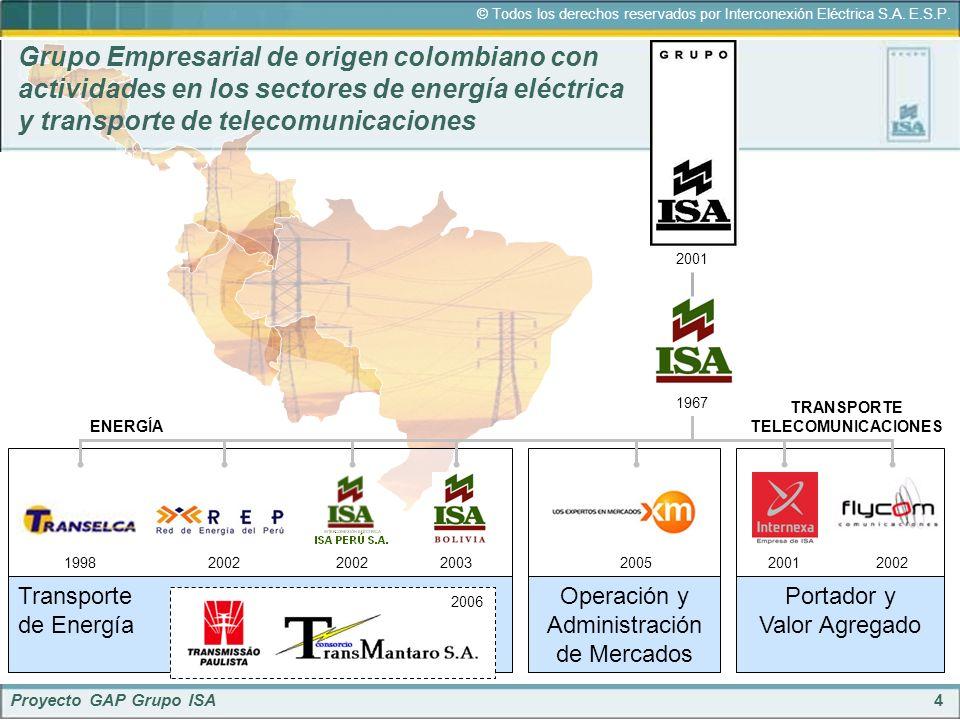 Grupo Empresarial de origen colombiano con actividades en los sectores de energía eléctrica y transporte de telecomunicaciones