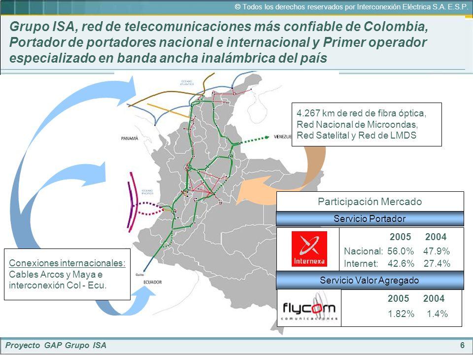 Grupo ISA, red de telecomunicaciones más confiable de Colombia, Portador de portadores nacional e internacional y Primer operador especializado en banda ancha inalámbrica del país