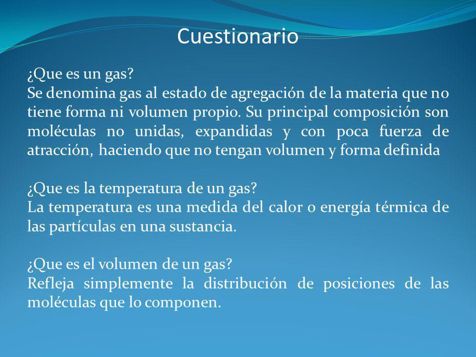 Cuestionario ¿Que es un gas
