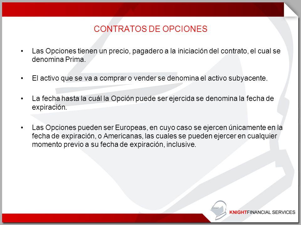 CONTRATOS DE OPCIONES Las Opciones tienen un precio, pagadero a la iniciación del contrato, el cual se denomina Prima.