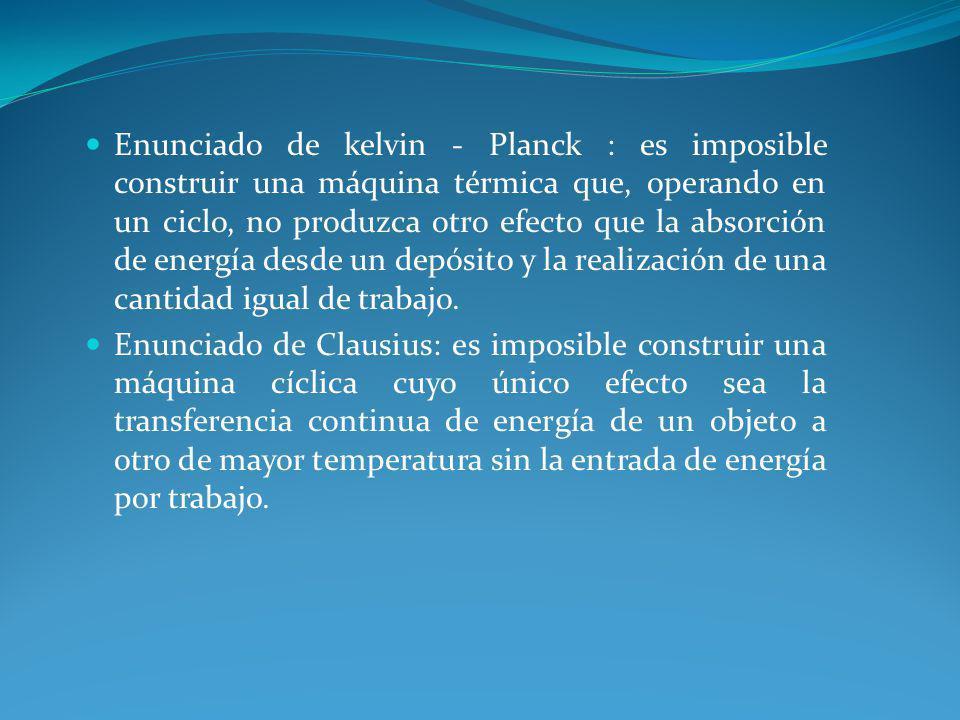 Enunciado de kelvin - Planck : es imposible construir una máquina térmica que, operando en un ciclo, no produzca otro efecto que la absorción de energía desde un depósito y la realización de una cantidad igual de trabajo.