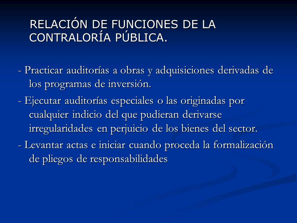 RELACIÓN DE FUNCIONES DE LA CONTRALORÍA PÚBLICA.