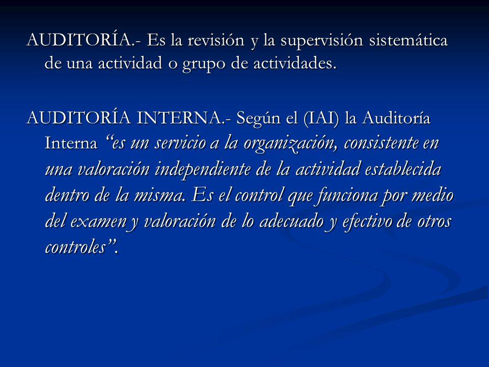 AUDITORÍA.- Es la revisión y la supervisión sistemática de una actividad o grupo de actividades.