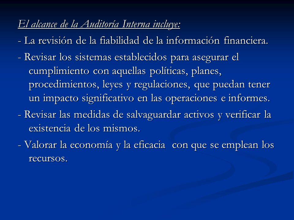 El alcance de la Auditoría Interna incluye: