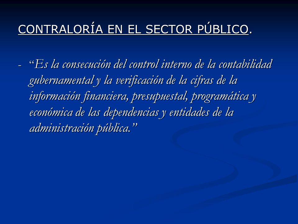 CONTRALORÍA EN EL SECTOR PÚBLICO.