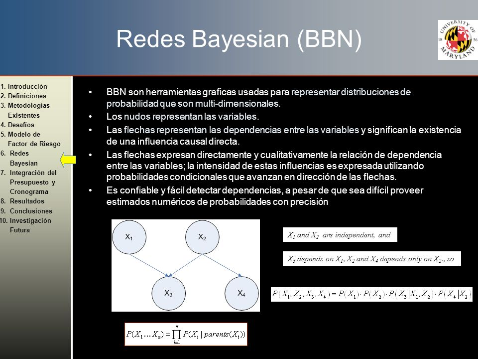Redes Bayesian (BBN) BBN son herramientas graficas usadas para representar distribuciones de probabilidad que son multi-dimensionales.