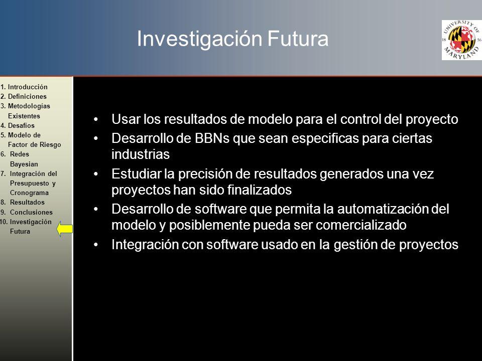 Investigación Futura Usar los resultados de modelo para el control del proyecto. Desarrollo de BBNs que sean especificas para ciertas industrias.