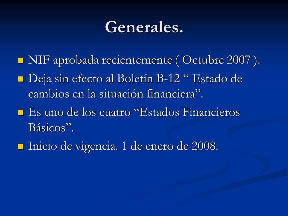 Generales. NIF aprobada recientemente ( Octubre 2007 ).