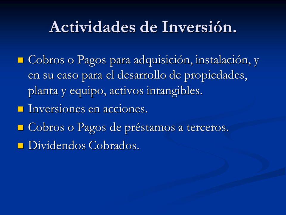 Actividades de Inversión.