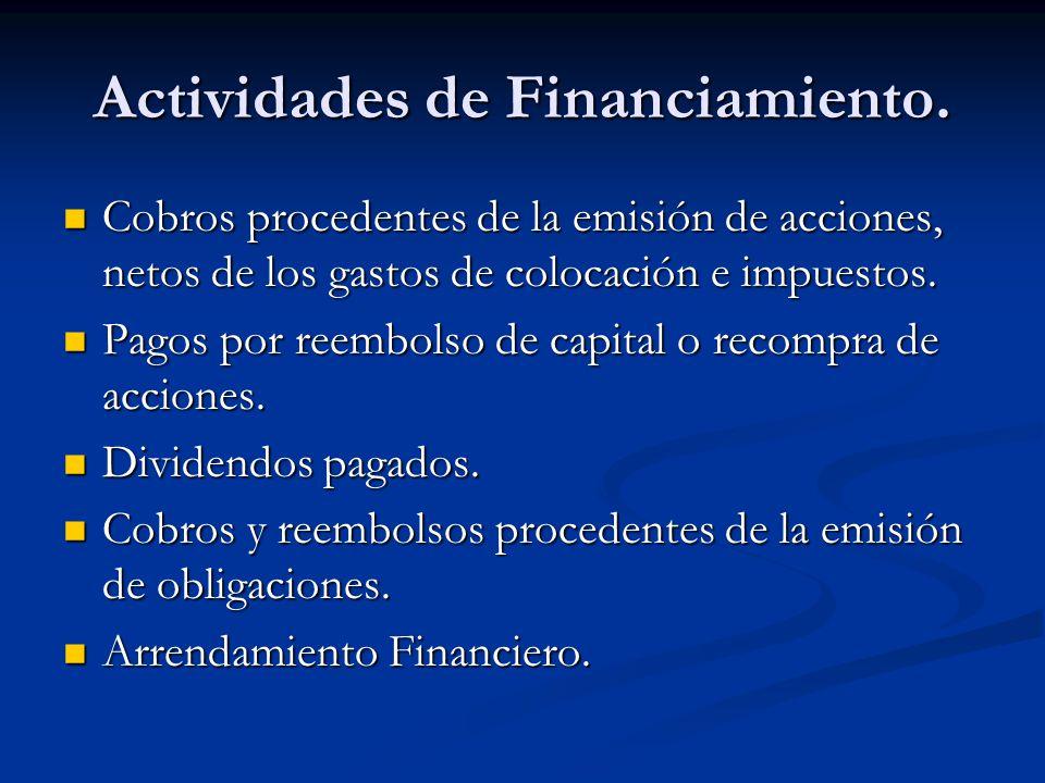 Actividades de Financiamiento.