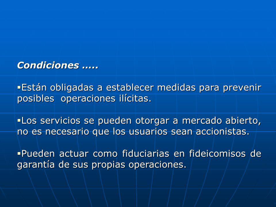 Condiciones ….. Están obligadas a establecer medidas para prevenir posibles operaciones ilícitas.