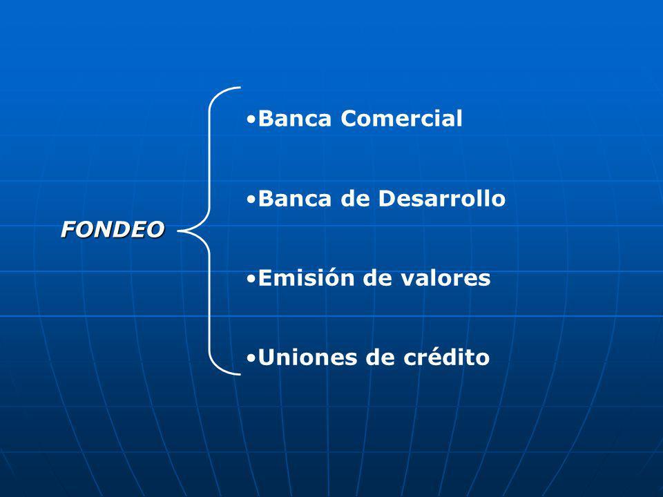 Banca Comercial Banca de Desarrollo Emisión de valores Uniones de crédito FONDEO