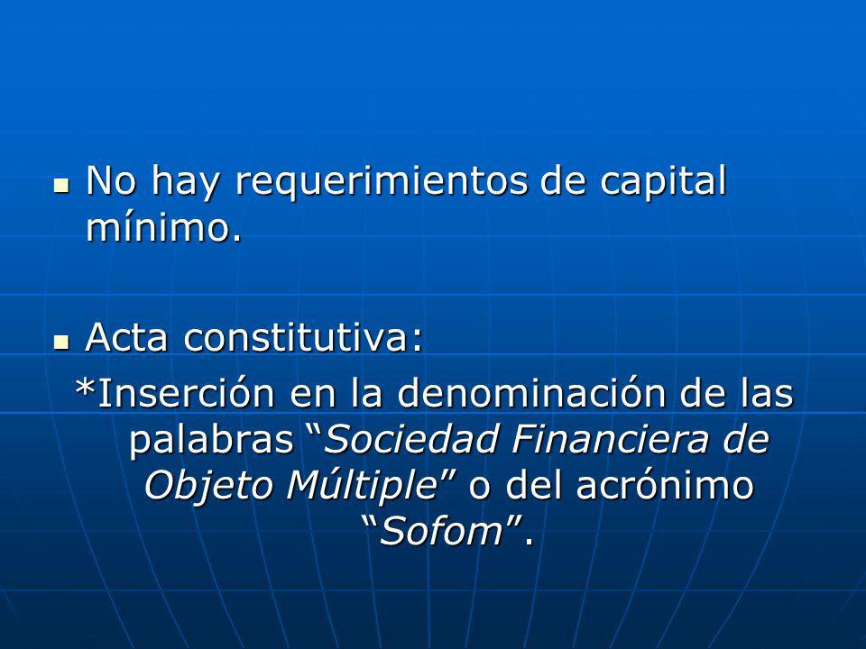 No hay requerimientos de capital mínimo.