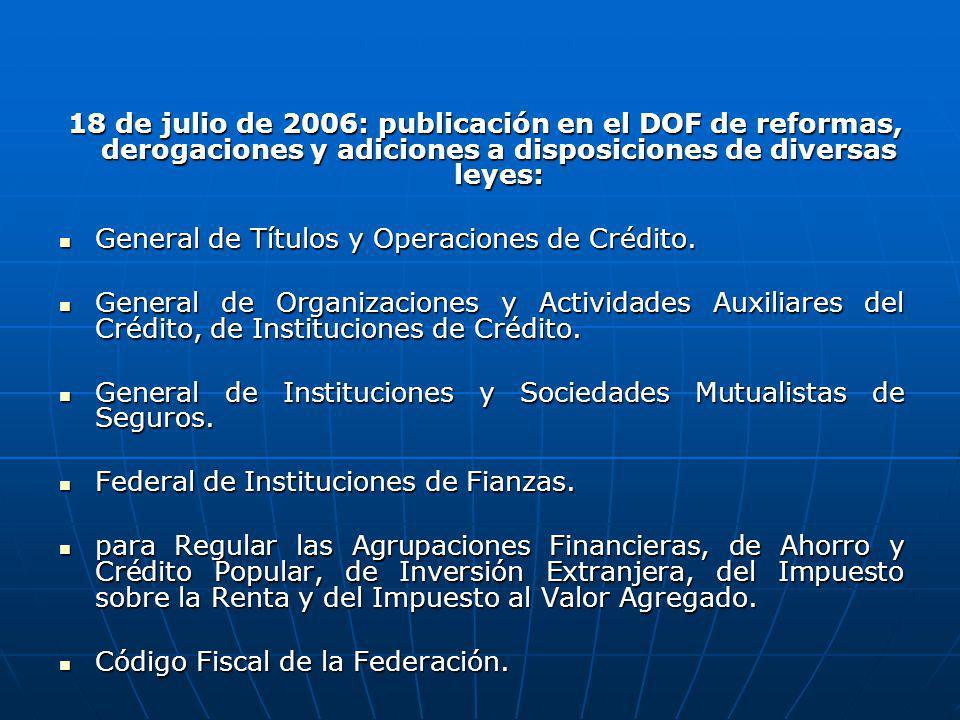 18 de julio de 2006: publicación en el DOF de reformas, derogaciones y adiciones a disposiciones de diversas leyes: