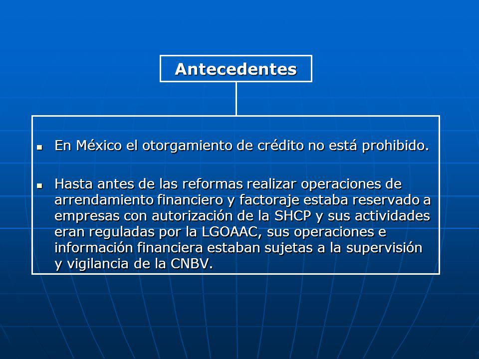 Antecedentes En México el otorgamiento de crédito no está prohibido.
