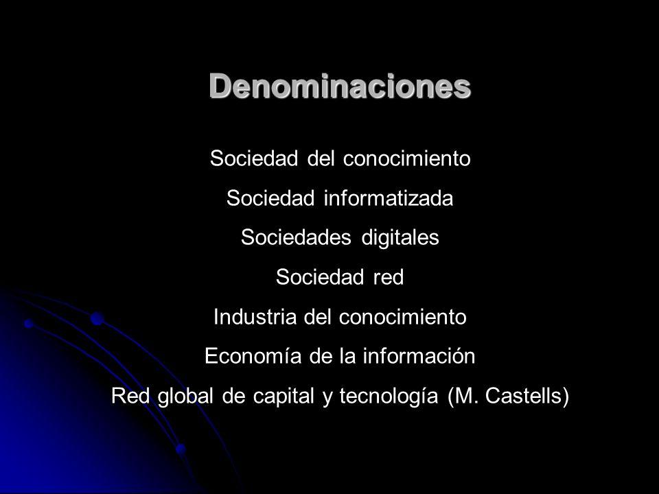 Denominaciones Sociedad del conocimiento Sociedad informatizada