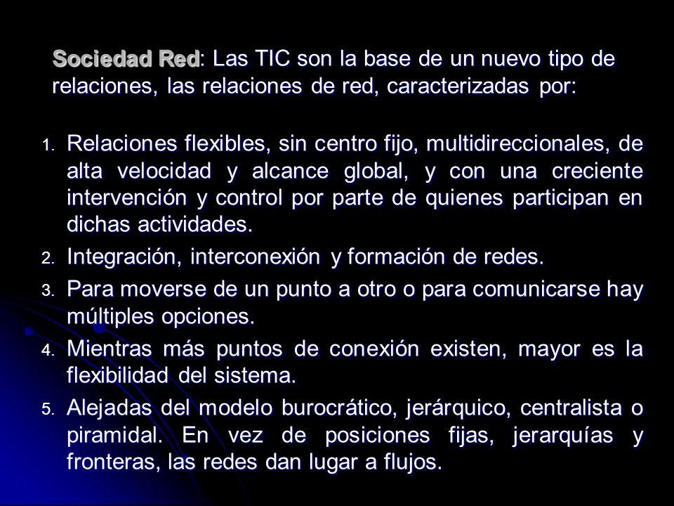 Sociedad Red: Las TIC son la base de un nuevo tipo de relaciones, las relaciones de red, caracterizadas por: