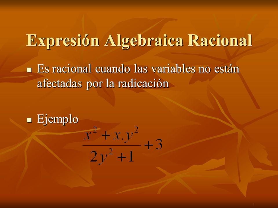 Expresión Algebraica Racional